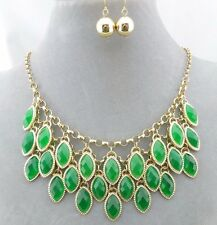 Gold Layered Green Acrylic Dangle Necklace Earrings Set Fashion Jewelry NEW
