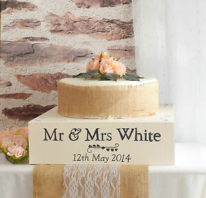 Image Is Loading Ivory Wooden Wedding Cake Stand Handpainted And Personalised