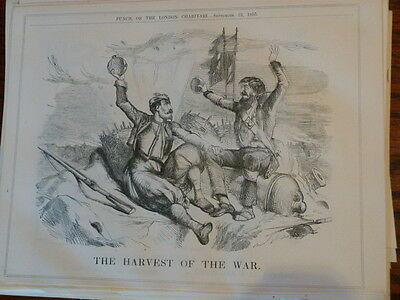 "7x10"" PUNCH cartoon 1855 THE HARVEST OF THE WAR crimea"