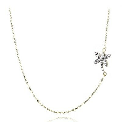 """18/"""" Gold over 925 Silver Diamond Accent Flamingo Necklace"""