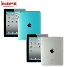 2x Amzer Soft Gel Circle TPU Skin Case Cover Combo For The new iPad 3 Blue+Clear