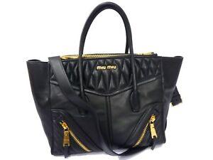 c2e23b5468fb8 Authentic MIU MIU Leather Nappa Biker Shoulder Hand Bag Black Z321 ...