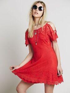 5281e065efa6 Free People French Quarter Cold Shoulder Crochet Lace Mesh Dress Red ...