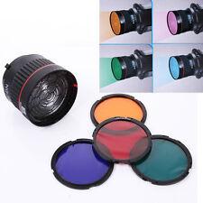 Bowens Mount Focus Lens for LED Flash Light Angle Adjustable+4 Color Filters