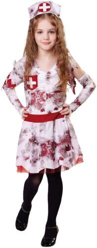 Girls Zombie Nurse Halloween Horror Cute Scary Fancy Dress Costume Outfit 4-12ys
