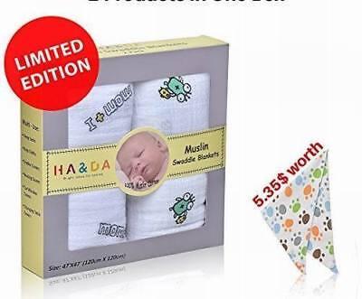 """– Bonus Bib Unique """"MOM /& I Design"""" 2 Pack Premium Muslin Swaddle Blankets"""