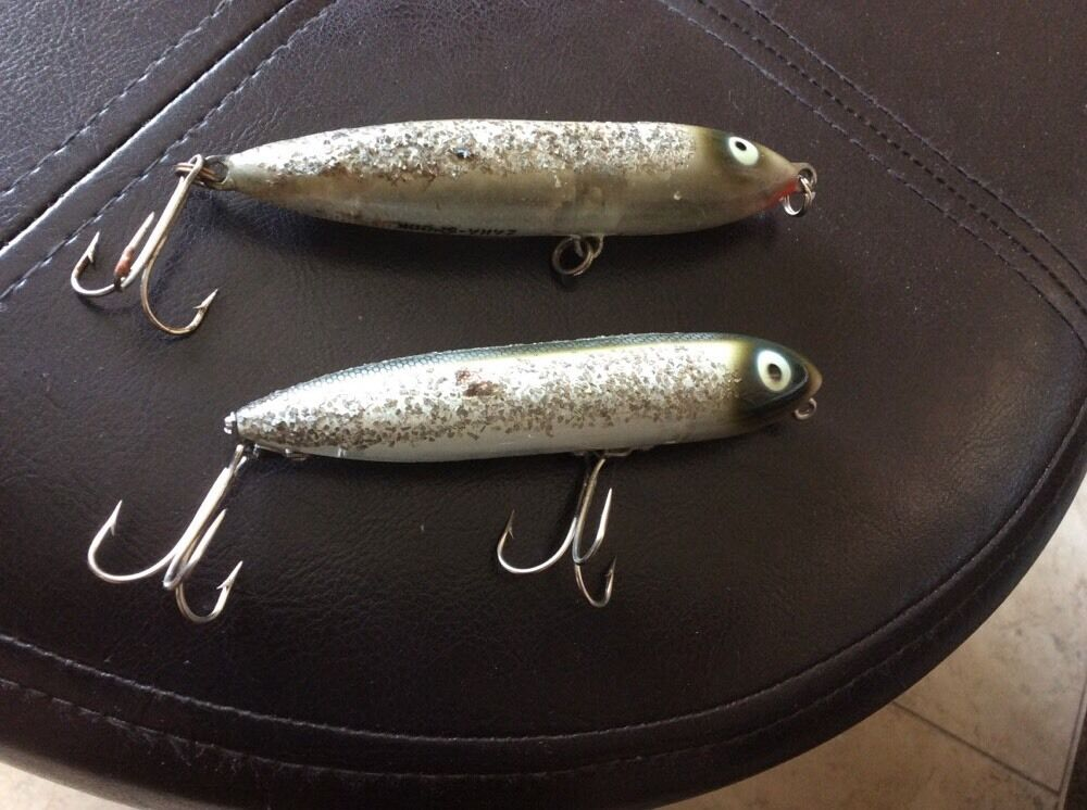TWO Heddon ZARA-SPOOK LURE's-One Has Nose Tie With Brass Hardware