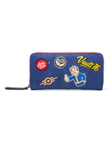 EMBOIRDERED PATCHES STYLED BLUE ZIP PURSE OFFICIAL BETHESDA FALLOUT 76 NEW