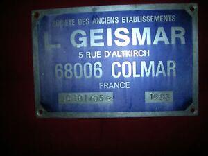 """Plaque en Métal ancienne Colmar - France - État : Occasion : Objet ayant été utilisé. Consulter la description du vendeur pour avoir plus de détails sur les éventuelles imperfections. Commentaires du vendeur : """"bon état"""" - France"""