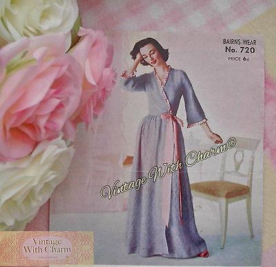 "Knitting Pattern Vintage 1940s Ladies Cardigan Flower Design 34/""-36/"" Bust."