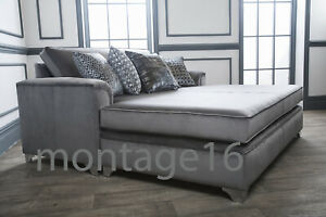 Fantastic Details About Bespoke Palace Large Grey Velvet Fabric Cinema Sofa Bed Many Colours Squirreltailoven Fun Painted Chair Ideas Images Squirreltailovenorg