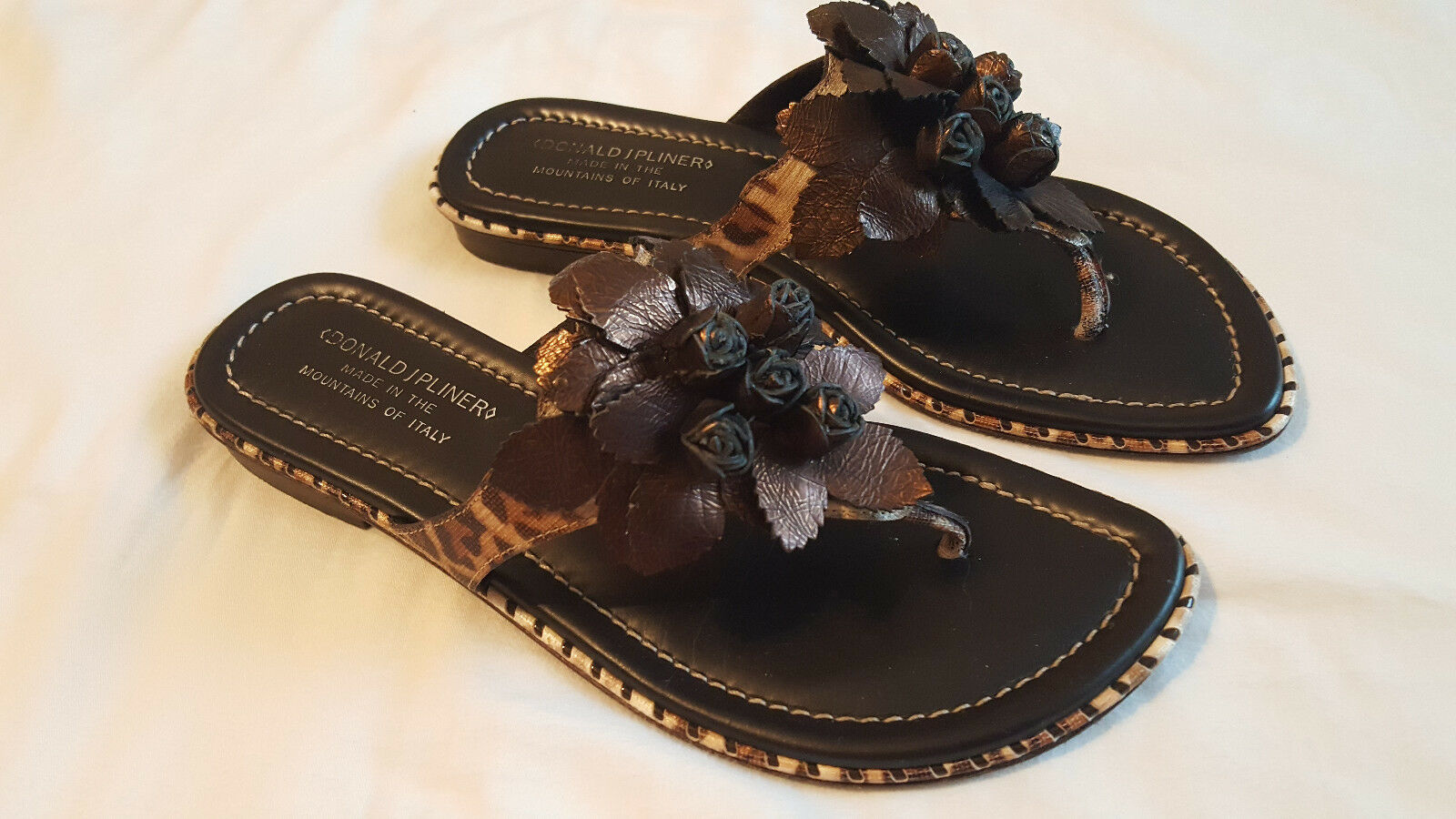 Donald Jpliner Womens Sandals Expreso color Size 8M Made in   295