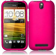 For Cricket HTC ONE SV Rubberized HARD Case Snap On Phone Cover Hot Pink