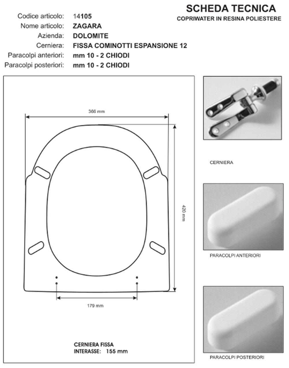 Abattant Wc Siège série compatible avec série Siège Zagara - entreprise Dolomite 5f6544