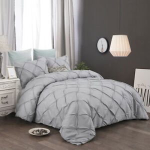 Gray-3-Pieces-Pintuck-Duvet-Cover-for-Comforter-King-Size-Bedding-Set-US
