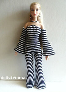 ANTOINETTE-and-CAMI-DOLL-CLOTHES-Handmade-JUMPSUIT-amp-JEWELRY-SET-Fashion-NO-DOLL