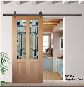 Barn Doors with Solid wood & stained glass panels | eBay