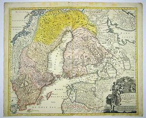 Karte Norwegen Dänemark.Details Zu Schweden Finnland Norwegen Dänemark Alt Kol Kupferstich Karte Homann 1750 D825s