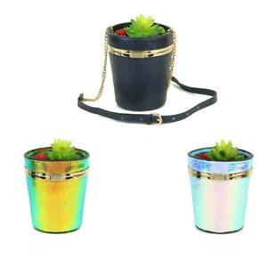 STATEMENT-CUTE-3D-SHINY-FAUX-LEATHER-FLOWER-POT-PLANT-DESIGN-SHOULDER-BUCKET-BAG