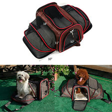Expandable Foldable Washable Travel Pet Carrier Two Extension Soft Bag Dog Cat