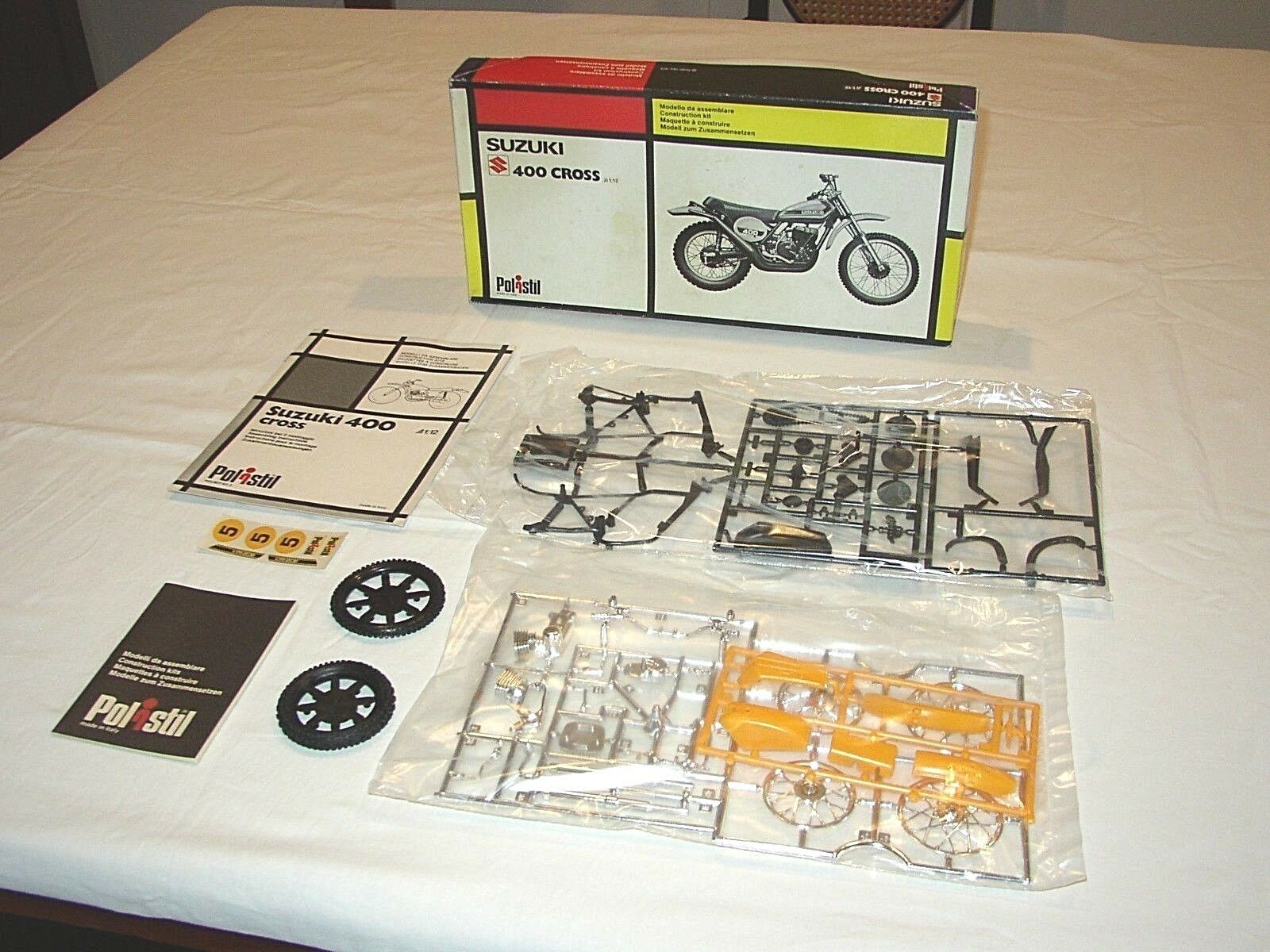 MOTO SUZUKI 400 CROSS - POLISTIL - 1974 - SCALA 1:12 KIT - MINT/BOX - MOLTO RARO
