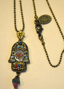 8a99ad36226d4 Details about Michal Negrin Victorian ish Roses Cameo Swarovski Crystals  Hamsa Necklace