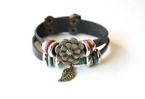 NEW-Leather-Hemp-Antique-Pendant-Bracelet-Wristband-Vintage-Cuff-Black-Tribal