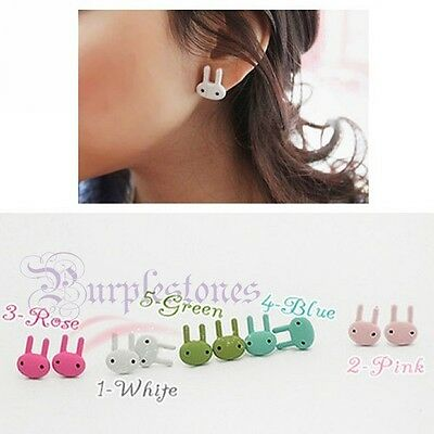 Girls Cute Sweet Cutie Painted Surface Bunny Rabbit Ear Stud Earring Earrings