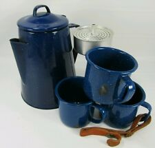 Enameled Blue Camp Perculator Coffee Pot & 3 cups