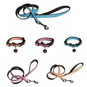 Dog-Collar-Lead-Set-With-Dog-Tag-French-Designed-Choice-Of-Sizes-amp-Colours
