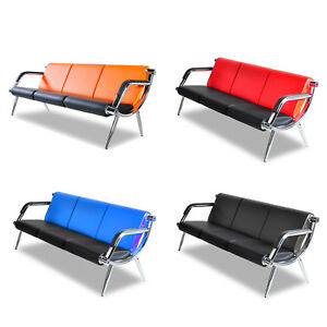 3 Seat Office Visitor Guest Sofa Reception Chair Waiting Room Bench PU Leather