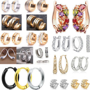 Punk-Mens-Womens-925-Silver-Earrings-Crystal-Ear-Huggie-Dangle-Hoop-Jewelry-Gift