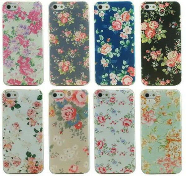 Retro Rose Flower Painted Hard Phone Back Case Cover Skin Shell For iPhone 5 5S