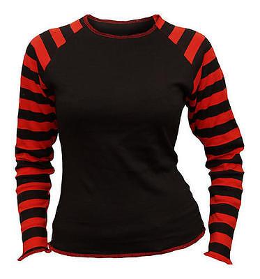 Spiral GOTHIC ROCK Red & Black Print Stripe Womens Top T-Shirt Tee, Goth, Rock