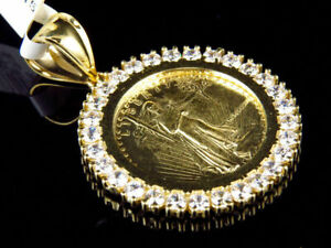 0-50Ct-Diamond-Statue-of-Liberty-Lady-Coin-Charm-Pendant-14K-Yellow-Gold-Finish