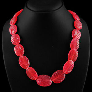 507.05 Cts Earth Mined Riche Rouge Rubis Ovale Sculpté Perles Collier Strand-afficher Le Titre D'origine Belle En Couleur