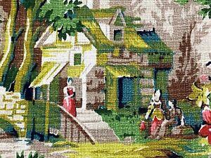 SALE-Thomas-Kinkade-Style-Pastoral-Barkcloth-Vintage-Fabric-Yardage-Cottage-Life