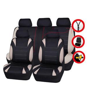 Universal-Car-Seat-Covers-Neoprene-WATERPROOF-Full-Seat-Airbag-Fit-Black-Beige