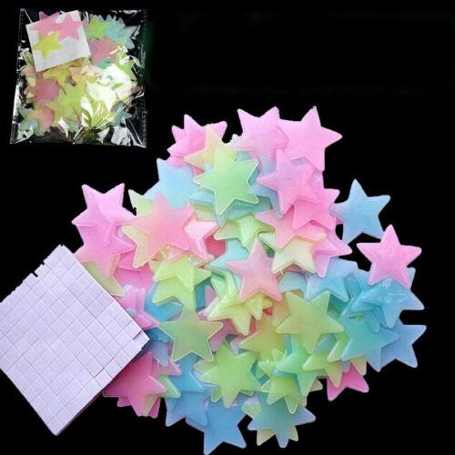 100 Stk 3D Leuchtend Sterne mit Beutel Klebeband Sticker Wandtattoo Zimmerdecke