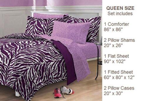Comforter Reversible Bed In A Bag XL Twin Full Queen Sheet Sham Blanket Purple