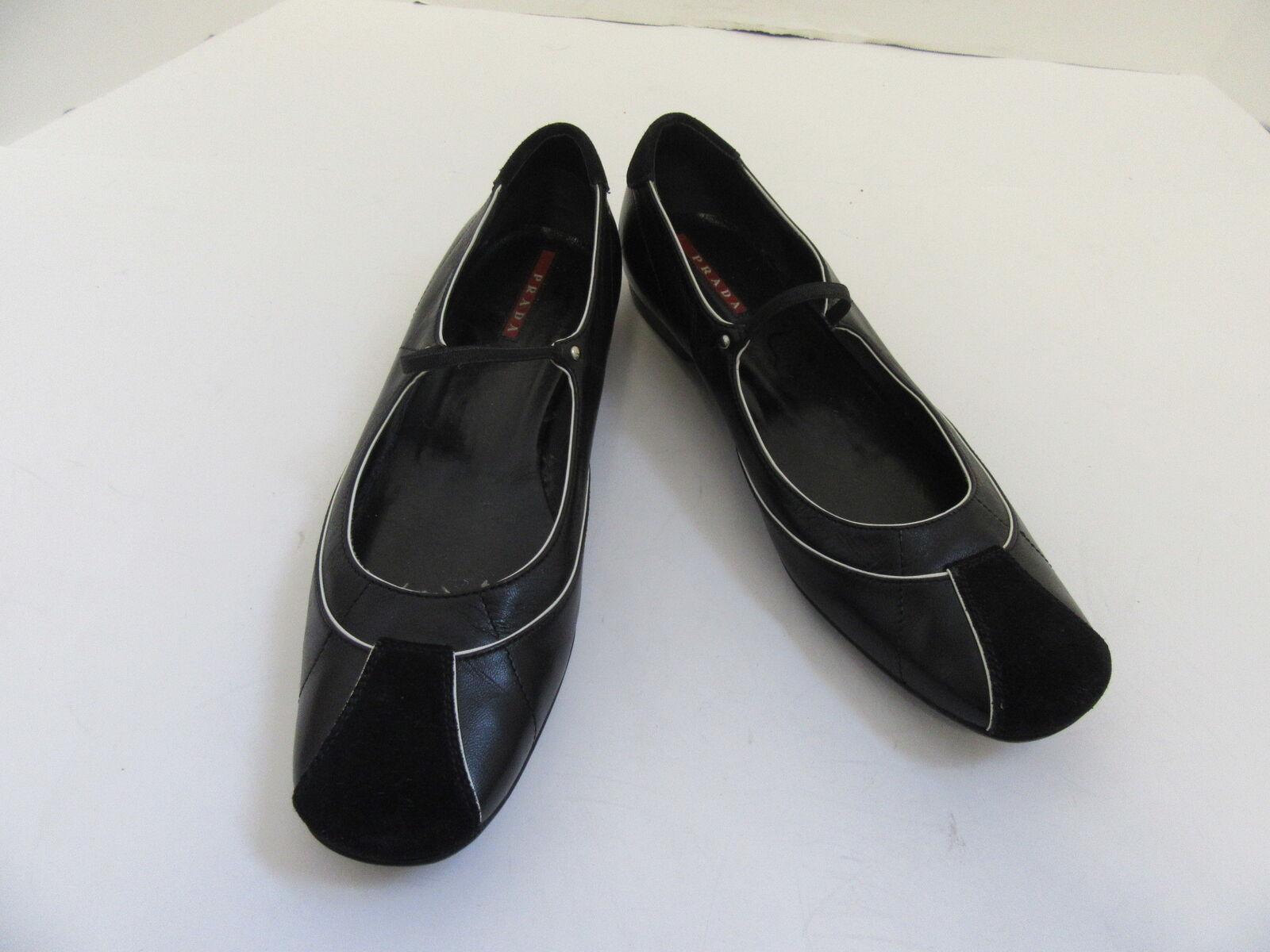 PRADA BLACK LEATHER MARY MARY MARY JANE BALLET FLATS 37 7 e79051