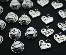 Wedding Heart & Top Hat Charms - Silver Plated