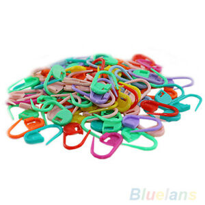 100x-Knitting-Craft-Crochet-Locking-Stitch-Needle-Clip-Markers-Holder-Fun-B67K