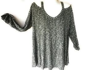 Women-039-s-Cold-Open-Shoulder-Top-Lightweight-Loose-Knitted-Shirt-Sweater-Clothes