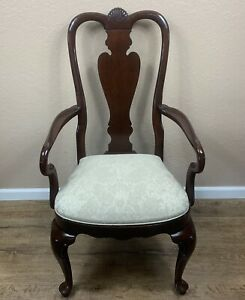 Ethan-Allen-Queen-Anne-Fiddleback-Arm-End-Chair-Georgian-Court-Dark-Cherry-Wood