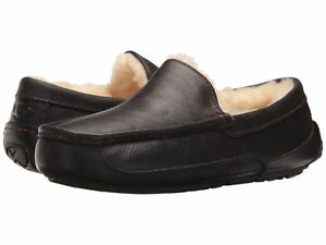 Men-UGG-Ascot-5379-China-Tea-Leather-Slipper-100-Authentic-Brand-New