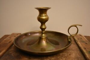 Vintage Solid Brass Candle Holder with Drip Saucer