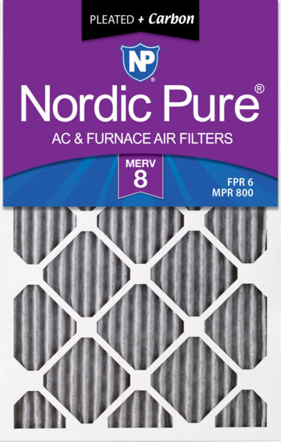 3 Pack 3 Piece Nordic Pure 10x20x1 MERV 12 Pleated Plus Carbon AC Furnace Air Filters