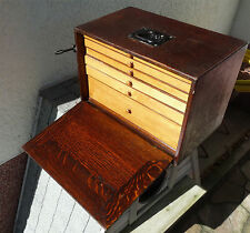 Exceptional Antique Dental Dentistry Travel Wooden Toolbox Dental mid century