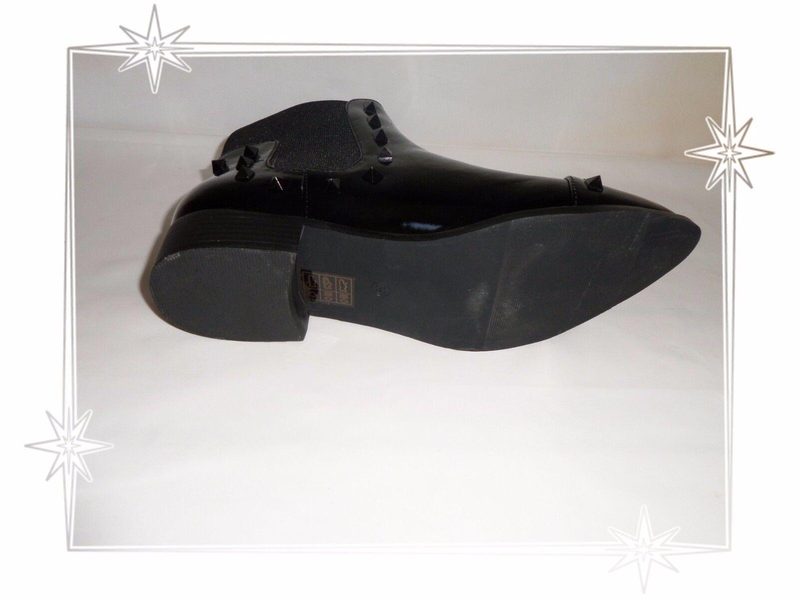 Schön Stiefletten Schwarz Lack Schwarz Stiefletten Nägel Malien Größe 39 82516d